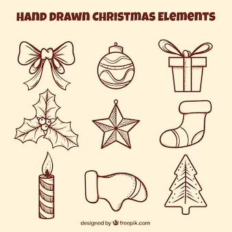 Hand drawn pack of christmas ornaments