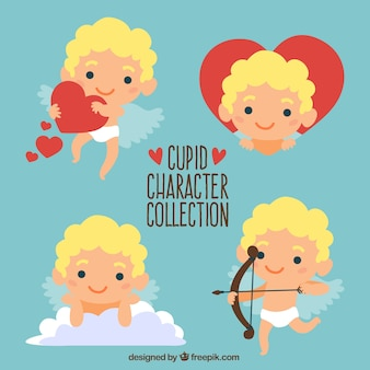 Hand-drawn pack of cute cupid character smiling
