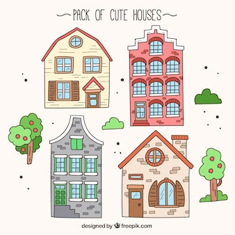 Hand-drawn pack of cute houses