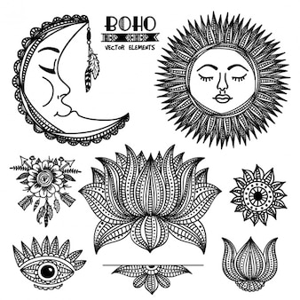 Hand-drawn pack of decorative elements in boho style