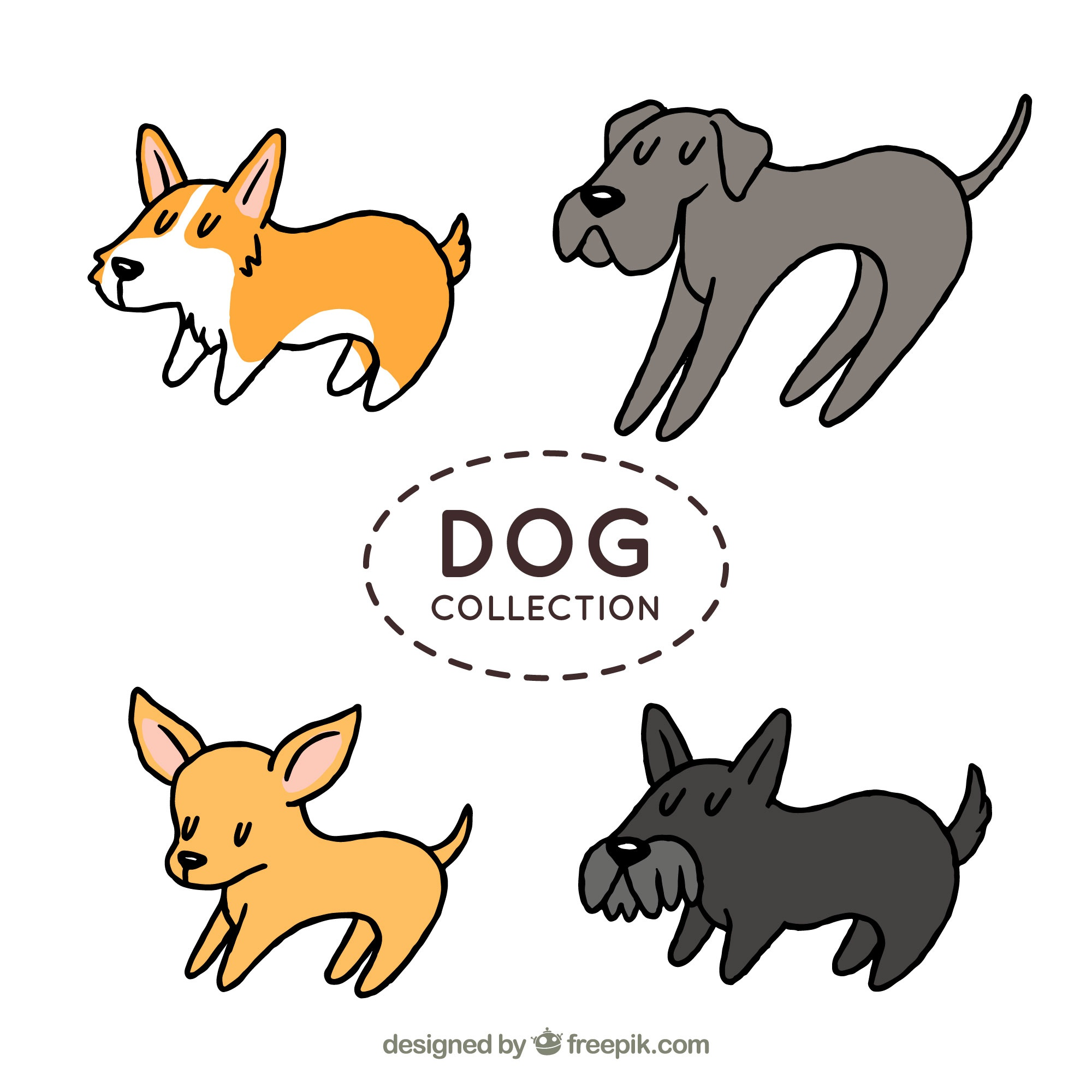 Hand-drawn pack of four dogs