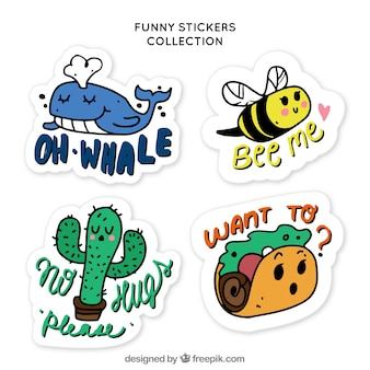 Hand drawn pack of funny stickers