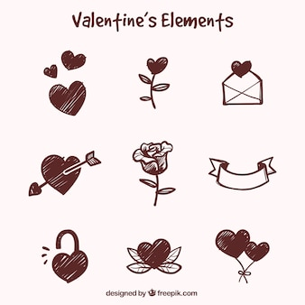Hand-drawn pack of great objects for valentine's day