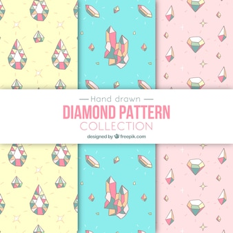 Hand-drawn pack of patterns with precious gems in pastel colors