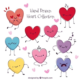 Hand-drawn pack of pretty hearts
