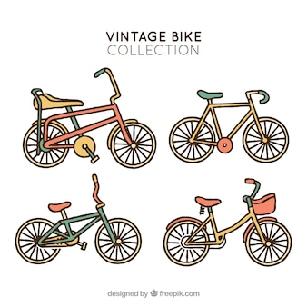 Hand drawn pack of retro bikes
