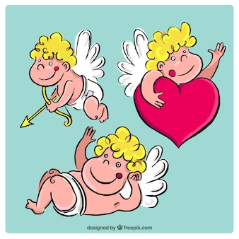 Hand-drawn pack of three smiling cupid characters