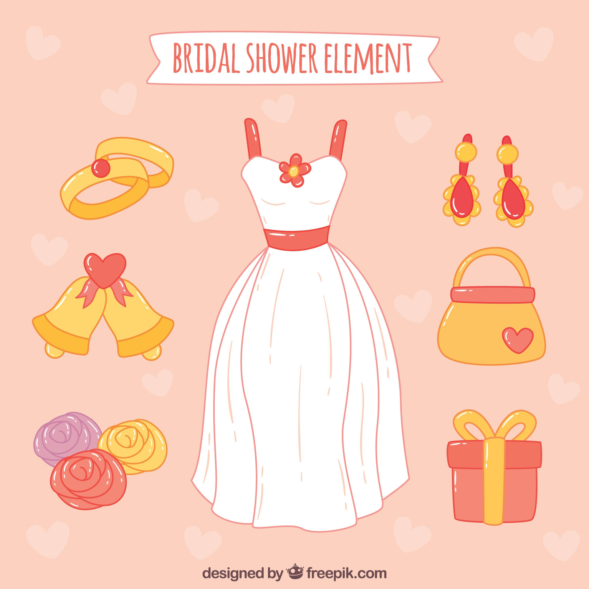 Hand-drawn pack with wedding dress and other decorative items