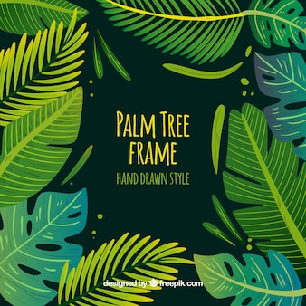 Hand drawn palm leaves background