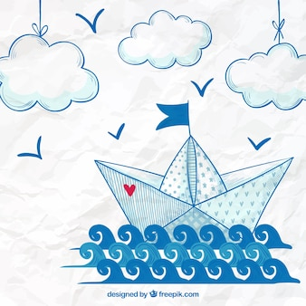 Hand drawn paper boat background