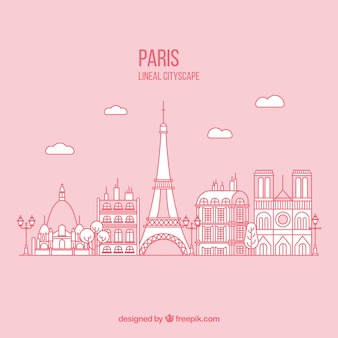 Hand drawn paris background in pink color