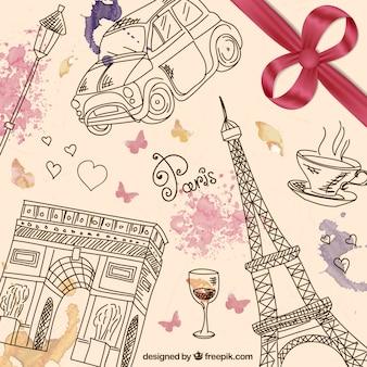 Hand drawn paris background