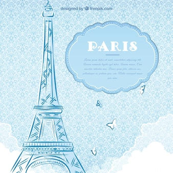 hand drawn paris card template