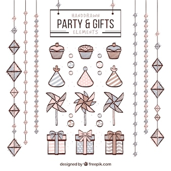 Hand drawn party and gifts elements