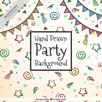 Hand-drawn party background with color items