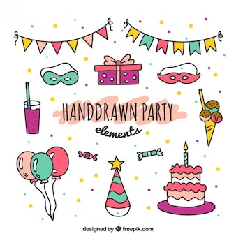 Hand drawn party elements