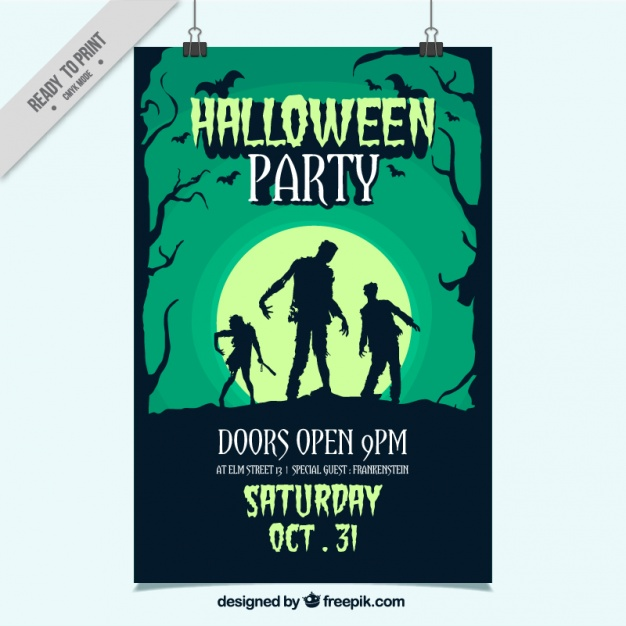 Hand-drawn party poster for halloween