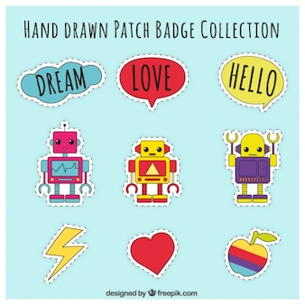 Hand drawn patches technological theme