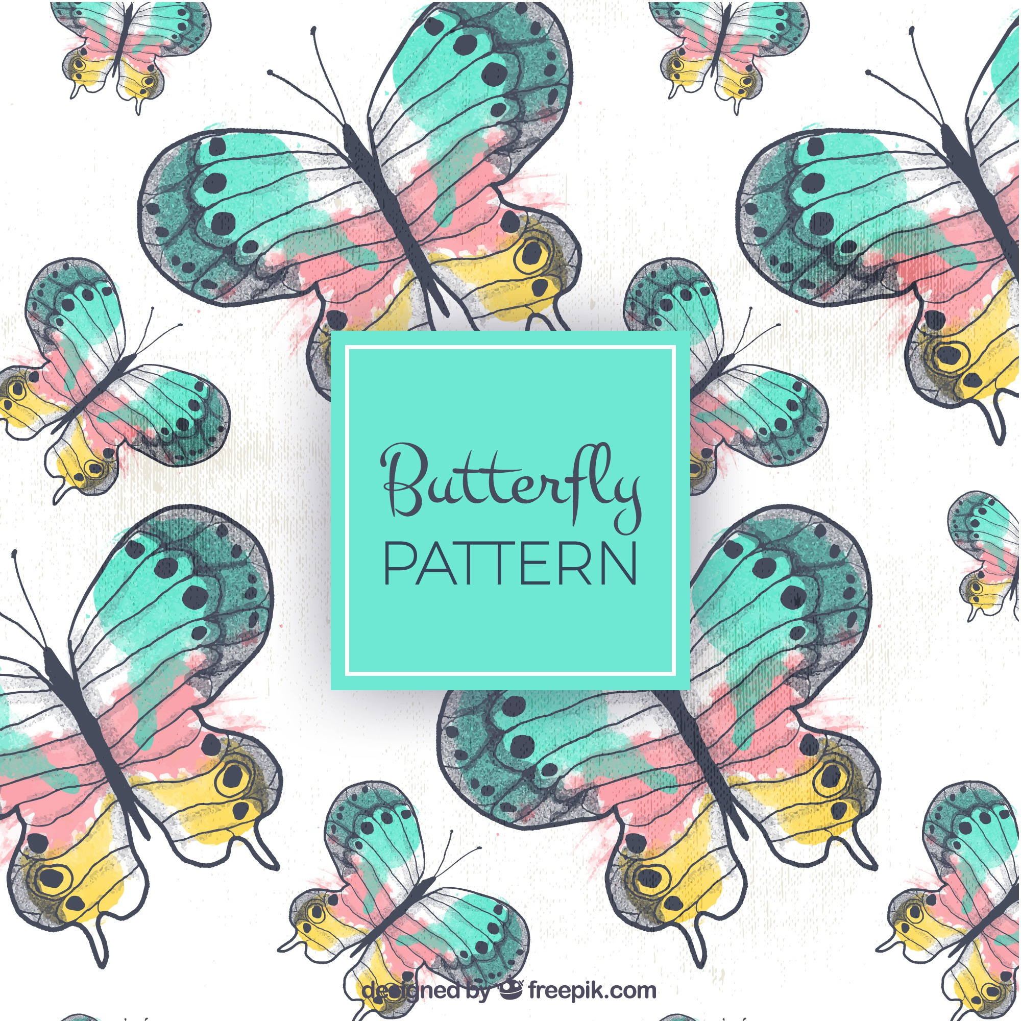 Hand-drawn pattern of colored butterflies