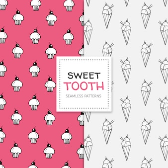 Hand drawn pattern set with cupcakes and ice cream cones