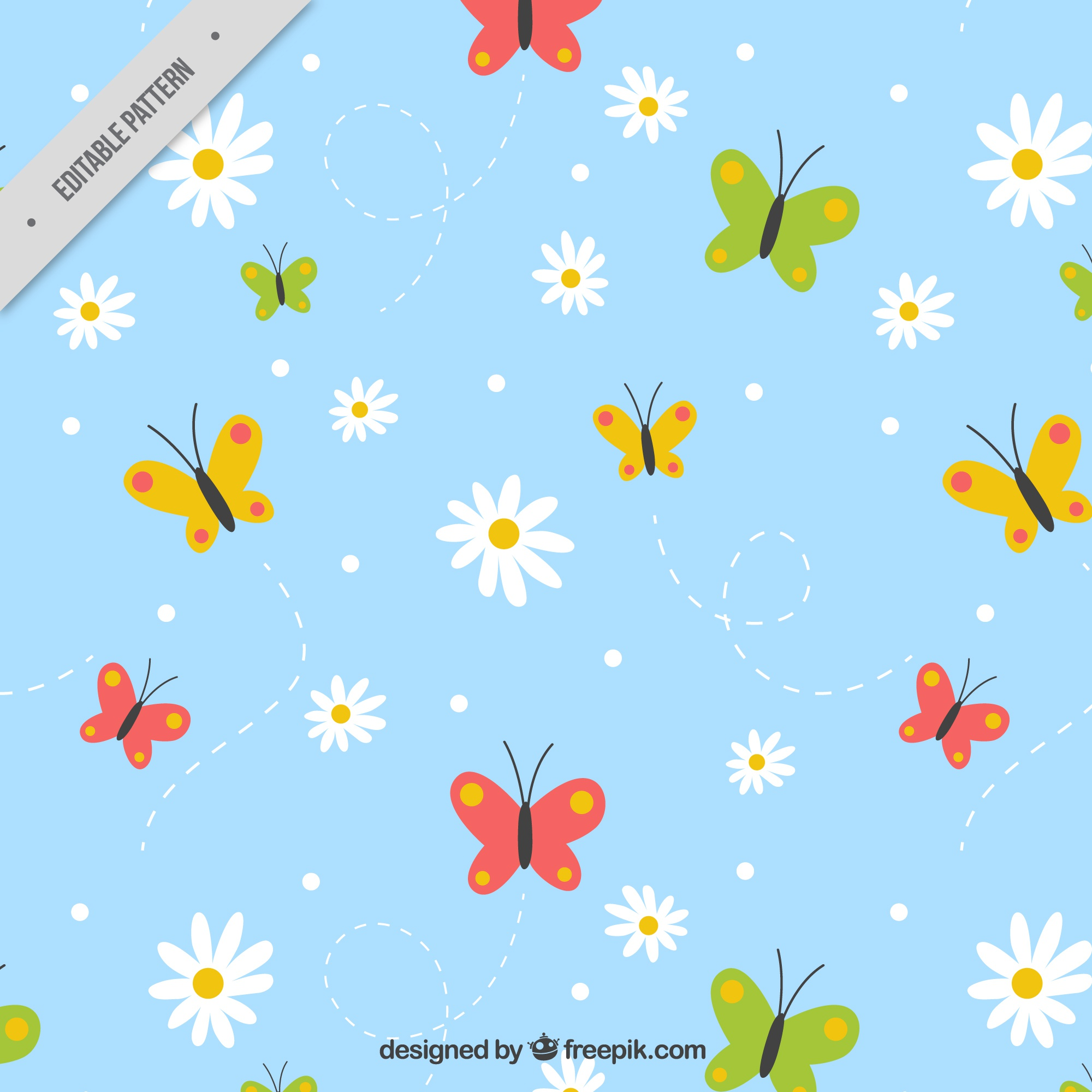Hand-drawn pattern with daisies and colored butterflies