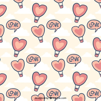 Hand-drawn pattern with hot air balloons for valentine's day