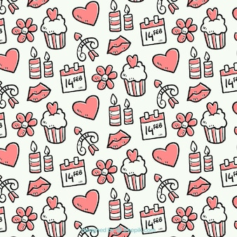Hand-drawn pattern with valentine's objects