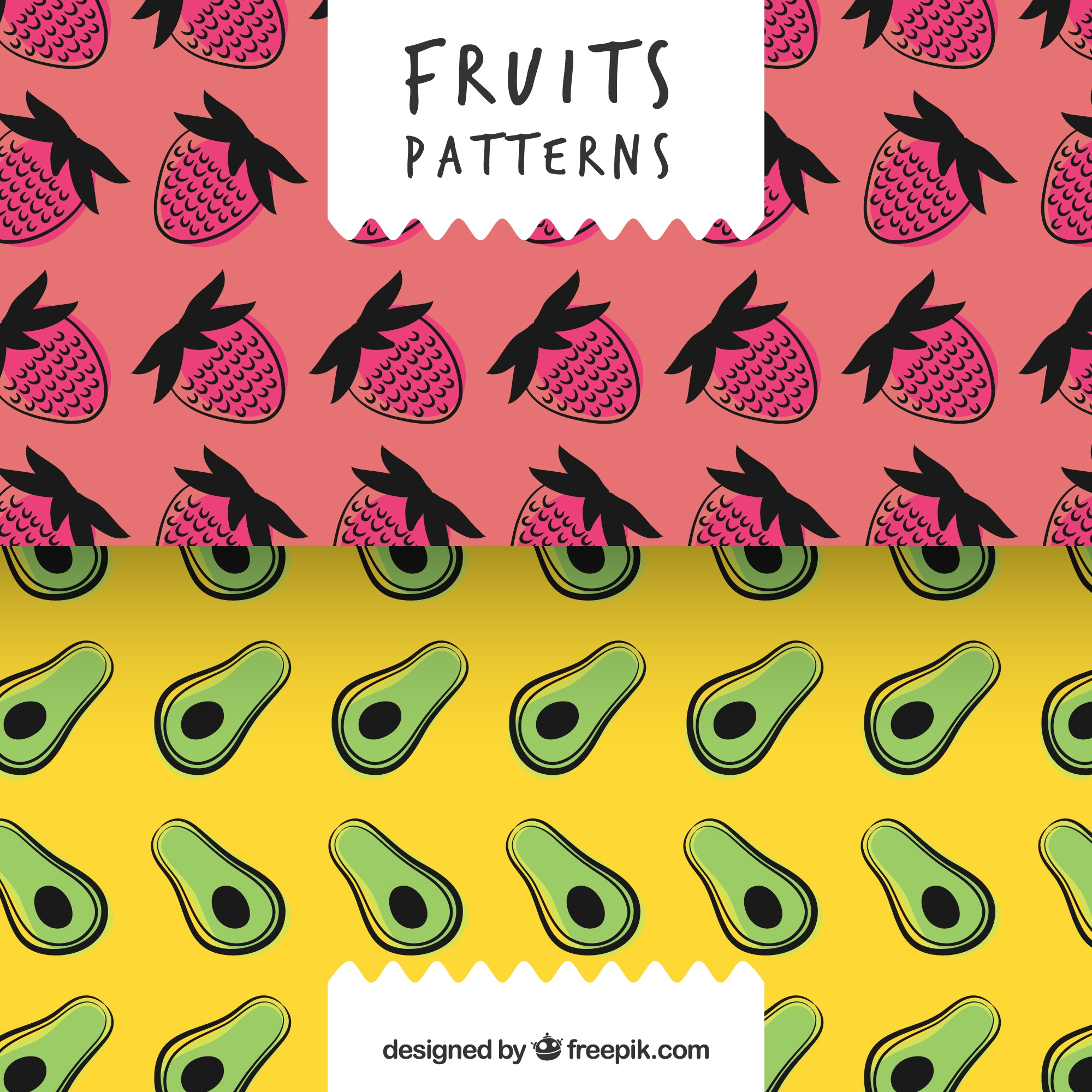 Hand drawn patterns of strawberries and avocados