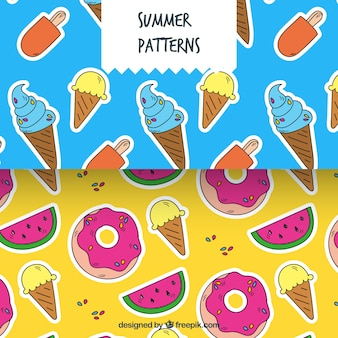 Hand-drawn patterns with colored summer elements
