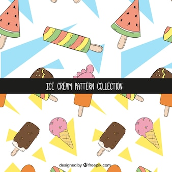 Hand-drawn patterns with variety of ice creams