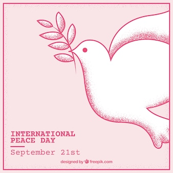 Hand drawn peace dove background