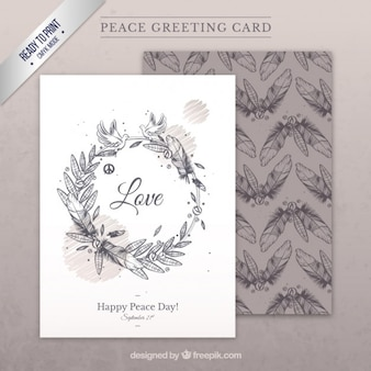 Hand drawn peace greeting card