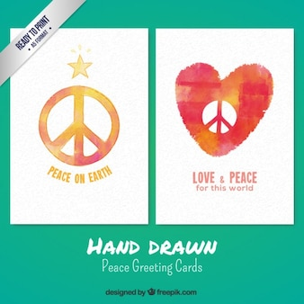 Hand drawn peace greeting cards