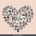Hand drawn perfume bottles making a heart