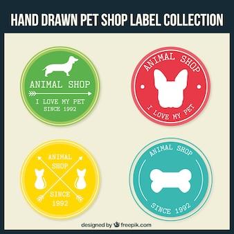 Hand-drawn pet shop stickers