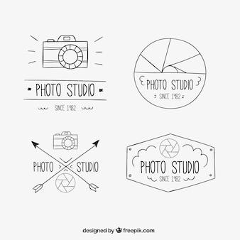 Hand drawn photo badges set