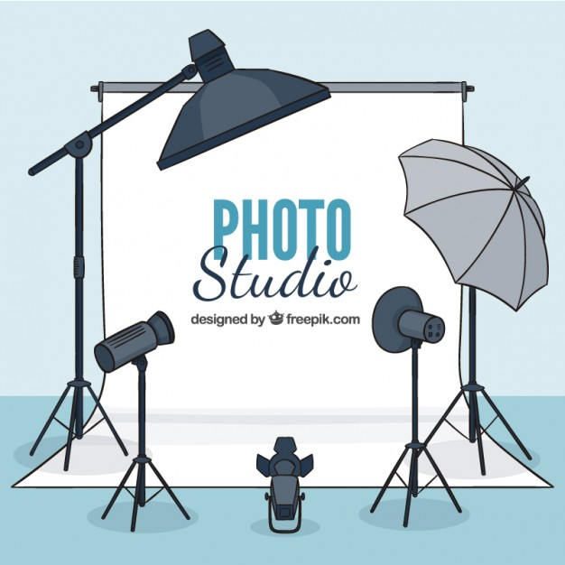 Hand drawn photo studio with elements