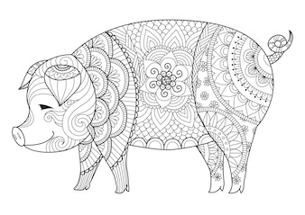 Hand drawn pig background