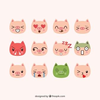Hand-drawn pig emoticons