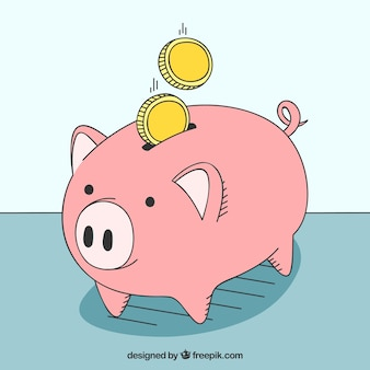 Hand drawn piggy bank background
