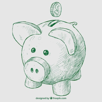 Hand drawn piggybank