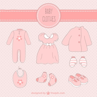 Hand drawn pink baby clothes