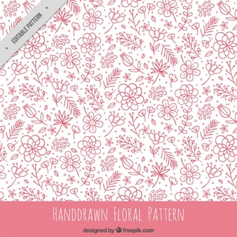 Hand drawn pink floral pattern