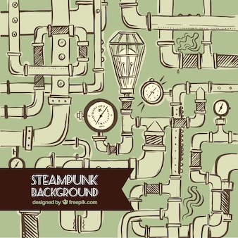 Hand drawn pipes steampunk background
