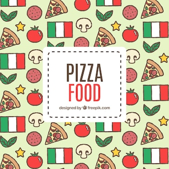 Hand drawn pizza background and italy flag