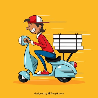 Hand drawn pizza delivery man