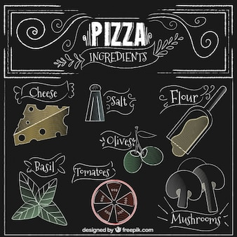 Hand drawn pizza ingredients in vintage style