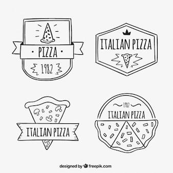 Hand-drawn pizza logos