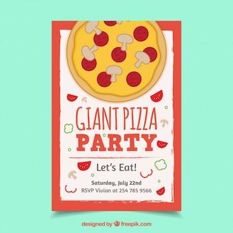 手描きのピザパーティーチラシ