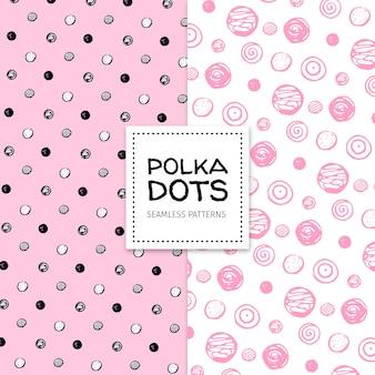 Hand drawn polka dot seamless patterns